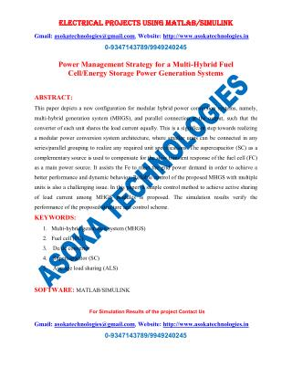 Power Management Strategy for a Multi-Hybrid Fuel Cell/Energy Storage Power Generation Systems