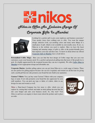 Nikos.in Offer An Exclusive Range Of Corporate Gifts In Mumbai