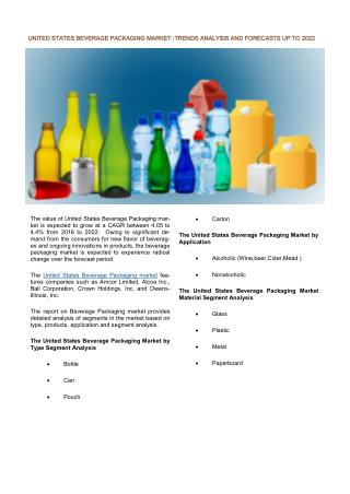 United States Beverage Packaging Market: Prospects, Trends, Market Size and Forecasts up to 2022