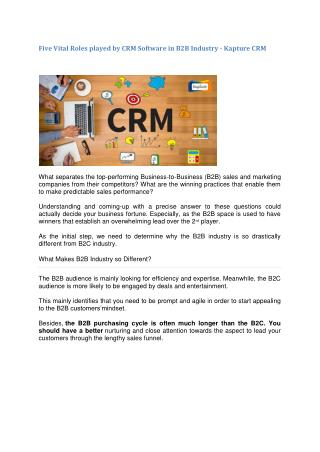Five Vital Roles played by CRM Software in B2B Industry - Kapture CRM