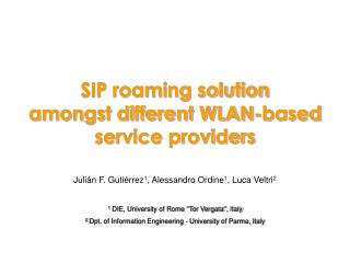SIP roaming solution amongst different WLAN-based service providers