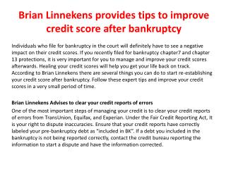 Brian Linnekens provides tips to improve credit score after bankruptcy