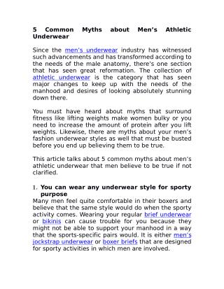 5 Common Myths about Men's Athletic Underwear