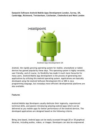 Eastpoint Software Android Mobile Apps Development London, Surrey, UK, Cambridge, Richmond, Twickenham, Colchester, Chel