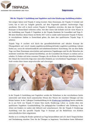 Kinderyogalehrer Ausbildung