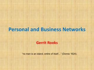 Personal and Business Networks