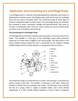 Centrifugal Pump and Its Dominant Functionalities