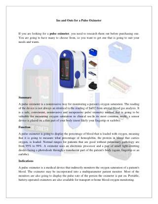 Ins and Outs for a Pulse Oximeter