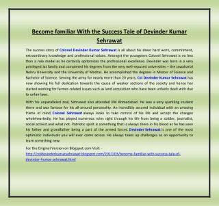 Become familiar With the Success Tale of Devinder Kumar Sehrawat