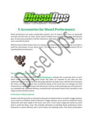 5 Accessories for Diesel Performance