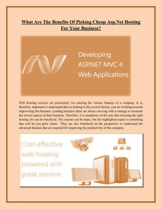 What Are The Benefits Of Picking Cheap Asp.Net Hosting For Your Business