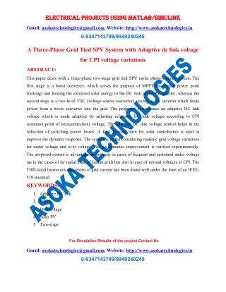 A Three-Phase Grid Tied SPV System with Adaptive dc link voltage for CPI voltage variations