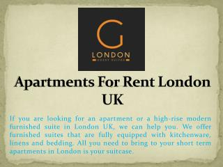 Apartments For Rent London UK