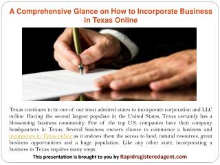 A Comprehensive Glance on How to Incorporate Business in Texas Online