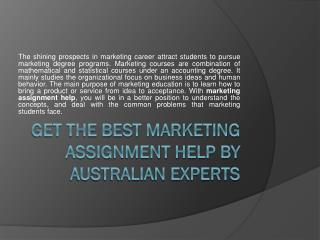 Marketing Assignment Help - Online Marketing Assignment Writing Service in Australia