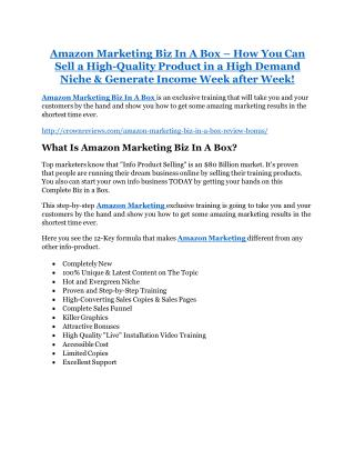 Amazon Marketing Biz In A Box Review and (FREE) Amazon Marketing Biz In A Box $24,700 Bonus