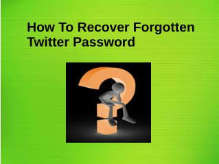 How to Recover Forgotten Twitter Password?