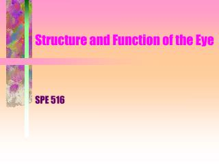 Structure and Function of the Eye