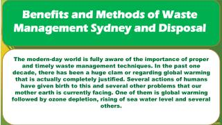 Benefits and Methods of Waste Management Sydney and Disposal