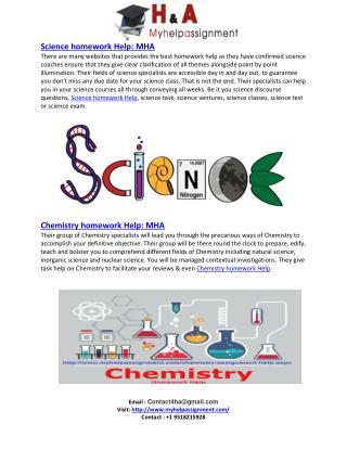 Science &  Chemistry homework Help : MHA