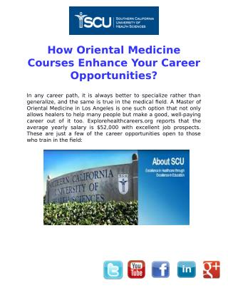 How Oriental Medicine Courses Enhance Your Career Opportunities?