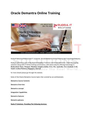 Oracle Demantra Online Training Institute In Hyderabad
