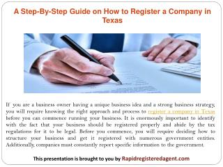 A Step-By-Step Guide on How to Register a Company in Texas