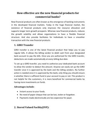 How effective are the new financial products for commercial banks