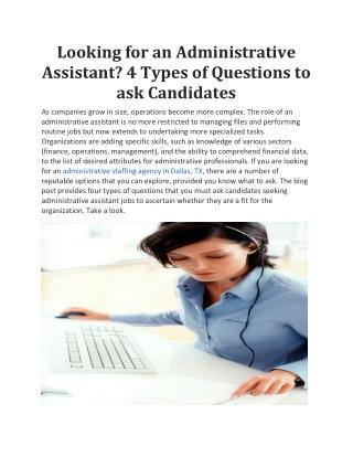 looking for an administrative assistant? 4 types of question to ask candidate