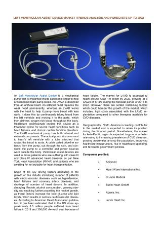 Left Ventricular Assist Device (LVAD) Market – Global Industry Analysis, Size, Share, Trends and Forecast, 2014 – 2022