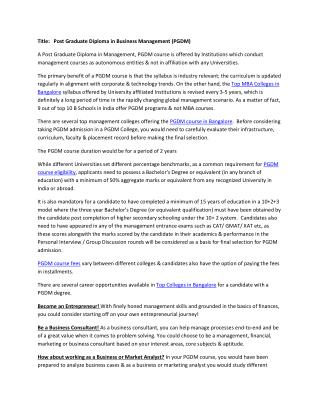 Post Graduate Diploma in Business Management (PGDM)