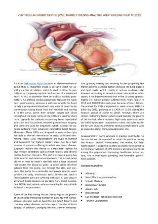 Ventricular Assist Device (VAD) Market – Global Industry Analysis, Size, Share, Trends and Forecast, 2014 – 2022