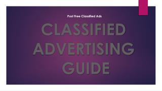 Post Free Classified Ads   Classified Marketing Guide