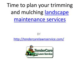 Time to plan your trimming and mulching landscape maintenance services