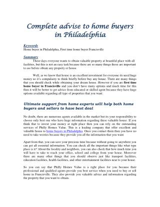 Complete advise to home buyers in Philadelphia