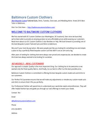 Baltimore Custom Clothiers: Best Custom Suits & Shirts