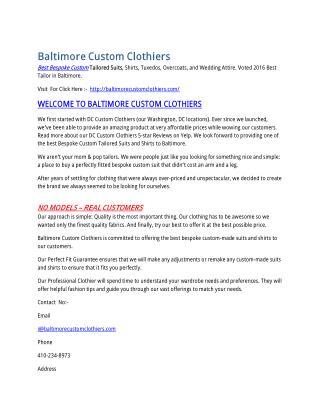 Baltimore Custom Clothiers: Best Custom Suits & Shirts