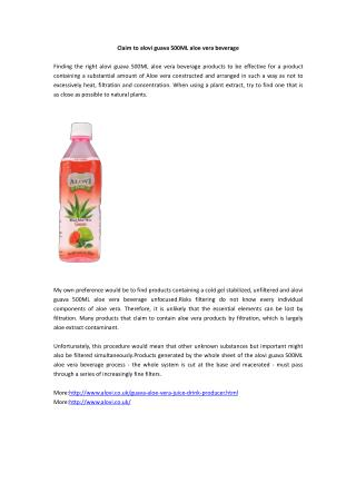 Claim to alovi guava 500ML aloe vera beverage