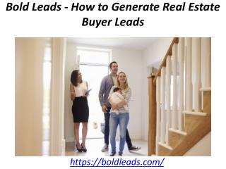 Bold Leads - How to Generate Real Estate Buyer Leads