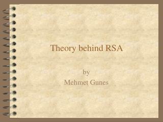 Theory behind RSA