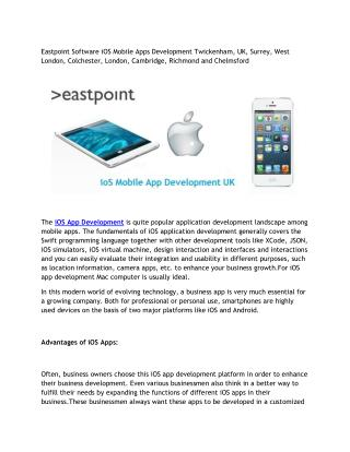 Eastpoint Software iOS Mobile Apps Development Twickenham, UK, Surrey, West London, Colchester, London, Cambridge, Richm