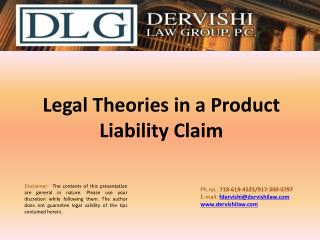 Legal Theories in a Product Liability Claim