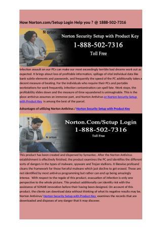 How Norton.com/Setup Login Help you ? @ 1888-502-7316
