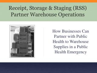 Receipt, Storage  Staging RSS Partner Warehouse Operations