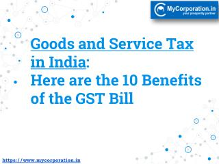 10 Benefits of the GST Bill in India