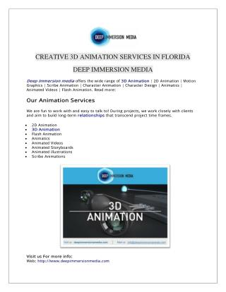 Creative 3D Animation Services In Florida | Deep Immersion Media