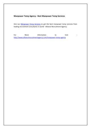 Manpower Temp Agency - Best Manpower Temp Services