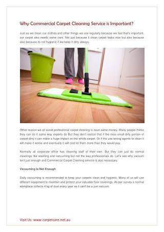 Why Commercial Carpet Cleaning Service is Important?