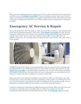 AC Repair Avon Ohio