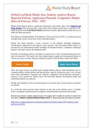 Load Bank Market Overview & Outlook 2021